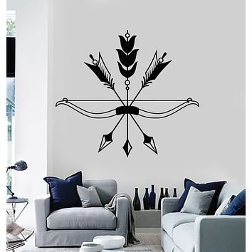 Vinyl Wall Decal Arrows Bow Bird's Feathers Ethnic Style Hunting Stickers Mural (g1066)