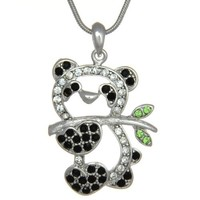 PammyJ Crystal Panda Bear Pendant Charm Necklace, 18""