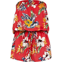 Red Hawaiian print bandeau playsuit