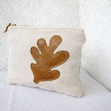 Leather leaf appliquéd Clutch purse cosmetic bag zipper pouch, natural canvas