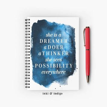 She Is A Dreamer A Doer, She Sees Possibility Everywhere - Spiral Notebook With Lined Paper, A5 Writing Journal, Diary, Inspirational Quote