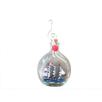 """USS Constitution Model Ship in a Glass Bottle Christmas Ornament 4"""""""