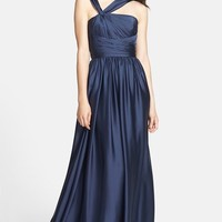 Women's ML Monique Lhuillier Bridesmaids Twist Shoulder Satin Chiffon Gown (Nordstrom Exclusive)