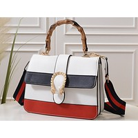 Gucci Fashion Lady's Colored Striped Single Shoulder Bag White