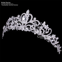 Rhinestone Crown Hairband Vintage Crystal Bridal Tiara Wedding Accessory Women Party Pageant Flower Jewelry Silver Plated