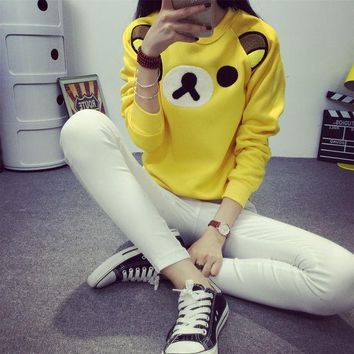 ESBHY9 2016 Women Cartoon Rilakkuma Pullovers Cute Hoodies Female Superman Minions Animal Kawaii Hoody Plus Size Girls Student Clothes