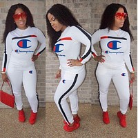Champion Women Casual Multicolor Letter Pattern Print Long Sleeve Trousers Set Two-Piece Sportswear