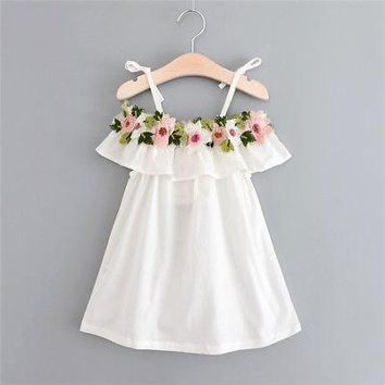 White Toddler and Little Girl Flower and Ruffle Dress With Spaghetti Straps.   In Sizes 12M, 2T, 3T and 4T.    ***FREE SHIPPING***