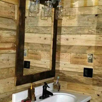 Rustic Barn wood mason jar light mirror barnwood  vanity light primitive shabby chic cottage bathroom fixture farmhouse industrial decor