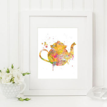 Watercolor Teapot, Teapot Print, Teapot Painting, Kitchen Art, Kitchen Decor, Kitchen Painting, Kitchen Print, Modern Home Decor