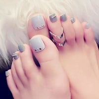 24Pcs Milk Grey Rivets False Toe Nails Light Color White Summer Toe Fake Nails Full Cover Acrylic Feet Patch With glue Sticker
