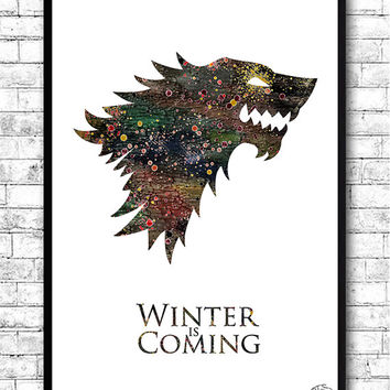House Stark 3 Watercolor Print Game Of Thrones art Watercolor Print Wall Hanging Giclee wall print Movie poster Watercolor Art Home Decor