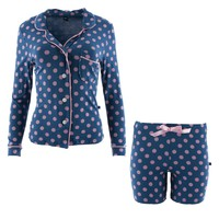 Kickee Pants Spring Anniversary Collection Print Women's Collared Pajama Set with Shorts