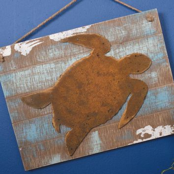 Rusty Sea Turtle Plank Board Wall Decor with Jute Rope
