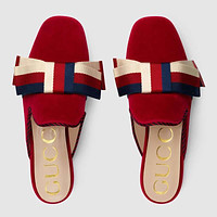 GUCCI Women Velvet slipper with Sylvie bow