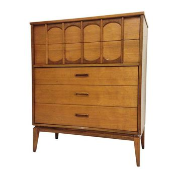 Pre-owned Mid-Century Modern Walnut Highboy Dresser