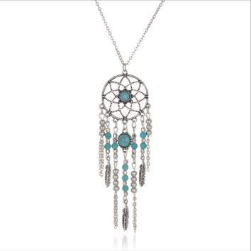 Bohemian national wind retro tassel feather blue turquoise necklace[10114715271]