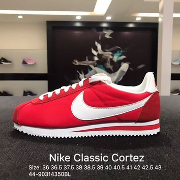 Nike Classic Cortez Suede Red White Women's Men's Sport Running Shoes
