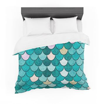 "Famenxt ""Mermaid Fish Scales"" Teal Nautical Illustration Featherweight Duvet Cover"