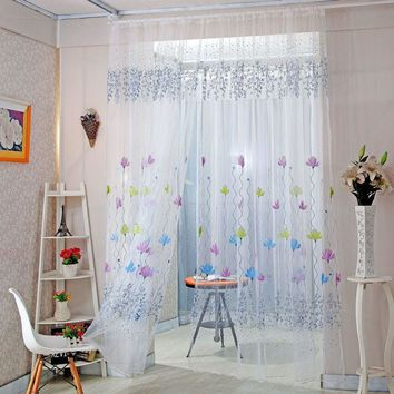 Floral Sheer Valance Curtain Panel Balcony Tulle for Window Room Divider Fashion Home Decor