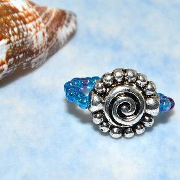 Toe Ring, Silver Charm Toe Ring , Beaded, Elastic Cord, Summer Jewelry
