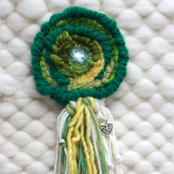 SMALL Round Woven Wall Hanging / Woven Wall Art / Small Circle Weaving / Green and Yellow with Bead and Charm Embellishments