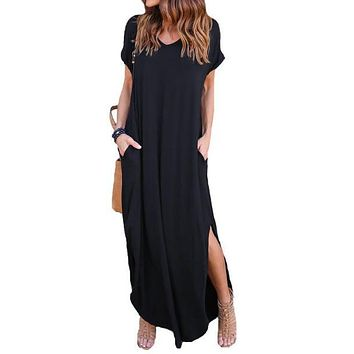 Short Sleeve V Neck Casual Slit Hem Solid Party Beach Maxi Dress