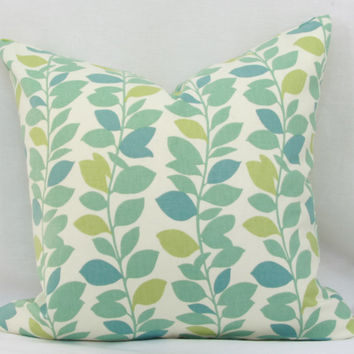 "Blue & green pillow cover. Waverly Leaf Garland spa decorative pillow cover. 18"" x 18"" pillow."