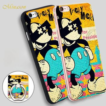 Minason Cute Mickey Mouse Cartoon Mobile Phone Shell Soft TPU Silicone Case Cover for iPhone X 8 5 SE 5S 6 6S 7 Plus