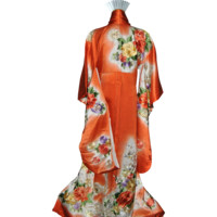 Princess Japanese Kimono Silk Robe, Floral Embroidery, Vintage Furisode
