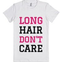 Long Hair Don't Care T-SHIRT (PINK BLK ICL02)-Female White T-Shirt