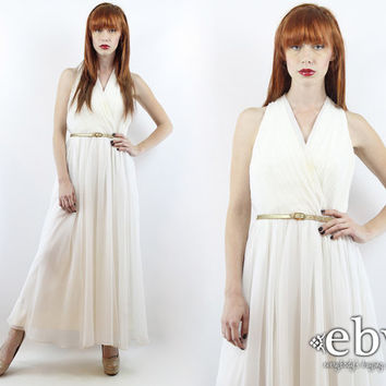 Vintage 70s White Pleated Grecian Wedding Dress S M Hippie Dress Hippy Dress Hippie Wedding Dress Boho Wedding Dress White Maxi Dress