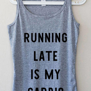 Running Late Is My Cardio Funny Gray Pink Elegant Women Tank Top Fitness Muscle Yoga Mom Graphic Tee Shirt