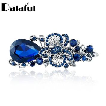 Women's Big Blue Crystal Flower Hairpin Hair Clip Headwear Barrette Rhinestone  Hair Accessories For Woman Girls F111