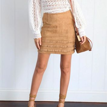 Stylish Winter Slim Tassels Skirt [52171178010]