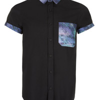 BLACK CONTRAST HIGH ROLLER SHIRT - View All - New In - TOPMAN