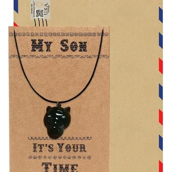 Orlando Black Panther Inspired Necklace, Gift for Him, Gift for Son with Greeting Card
