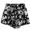 Black and White Floral Print High Waisted Wide Leg Shorts