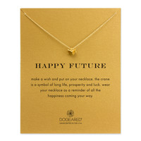 happy future origami crane necklace, gold dipped - Dogeared