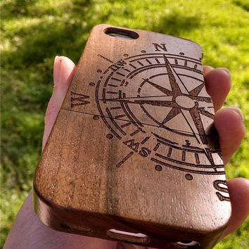 Walnut Wood Compass iPhone 5c Case , Custom iPhone 5c Case Wood , Personalized iPhone 5c Wood Case , Wooden iPhone 5c Case , Christmas Gift