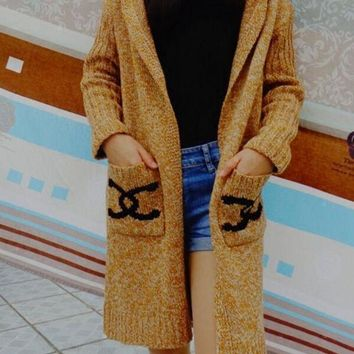 DCCKJ1A Chanel Hooded Sweater Knit Cardigan Jacket Coat