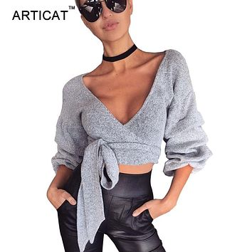 Articat Sexy V Neck Wraped Knitted Sweater Women Autumn Winter Casual Lantern Sleeve Sweater Jumper Cardigans Cropped Sweaters