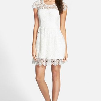 Junior Women's Whyte Eyelash Crochet Fit & Flare Dress,