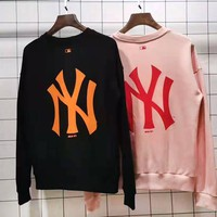 NY hot casual lovers round collar sweater fashion print embroidery LOGO sweater