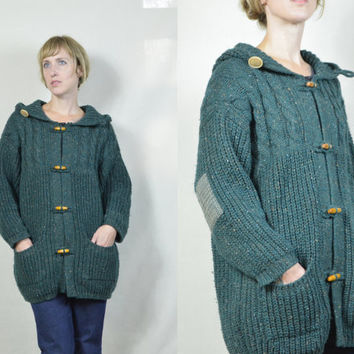 Vintage 1970's Forest Green Irish Heritage Wool Toggle Style Hooded Sweater Jacket