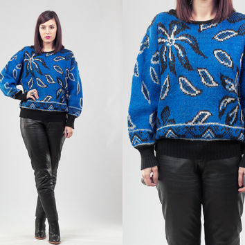 80s Electric Blue Sweater / Glam Printed Sweater / Floral Cobalt Blue Sweater