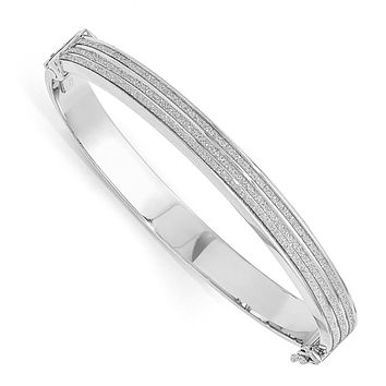 Leslies Sterling Silver Glimmer Infused Hinged Bangle