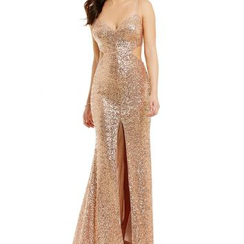 GB Social Sequin V-Neck Cutout Gown | Dillards