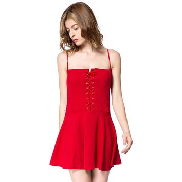 Lace-Up Solid Color Sexy Style Spaghetti Strap Slimming Women's Dress