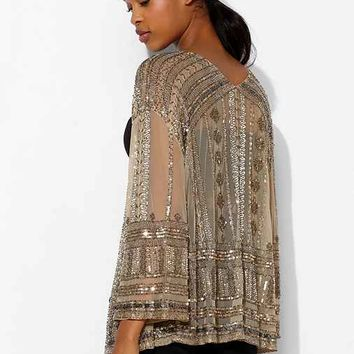 Ecote Zoe Sequin Mesh Rocker Jacket- Neutral Multi Xs/s